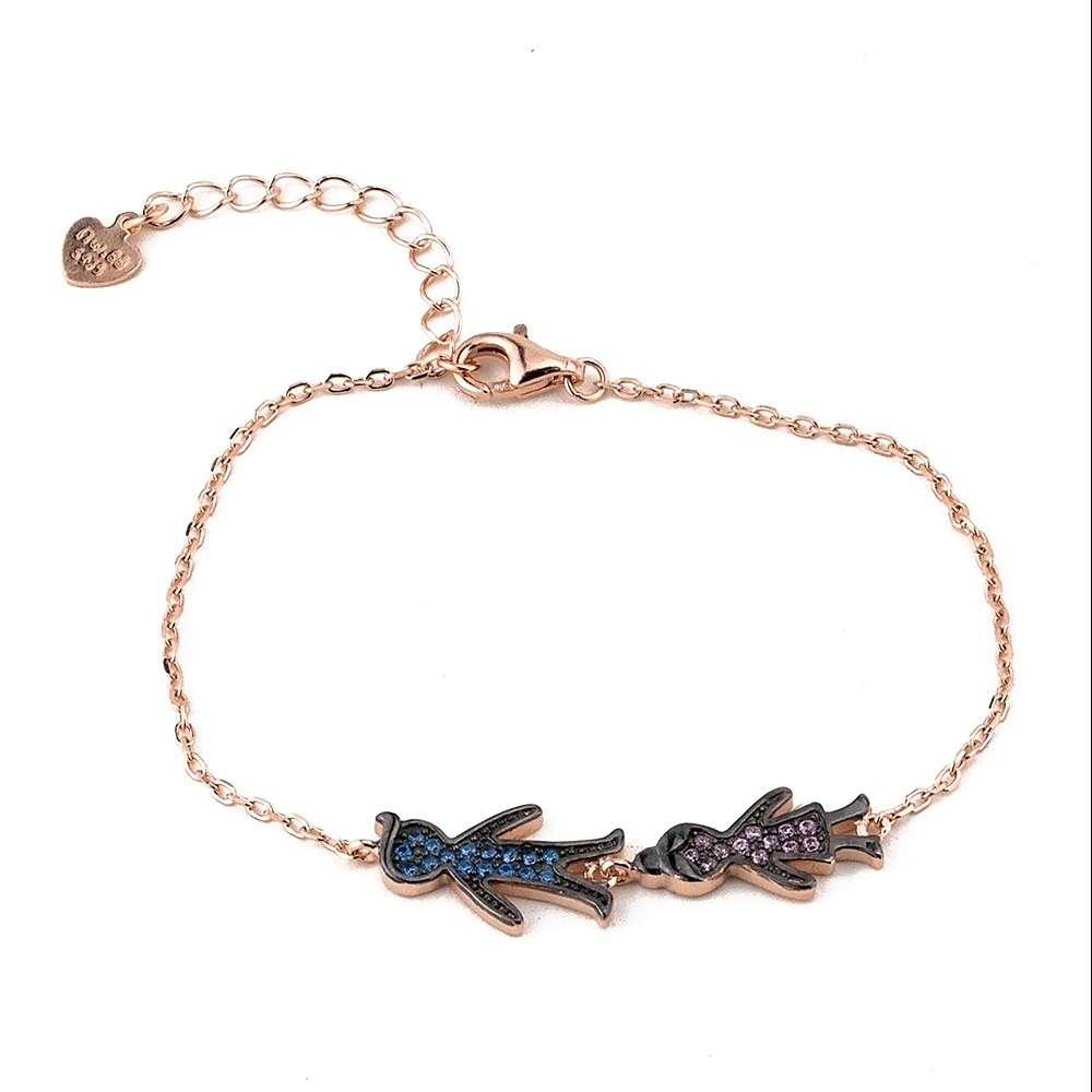 Ασημένιο βραχιόλι αγοράκι-κοριτσάκι με πέτρες ζιργκόν.  48644935410